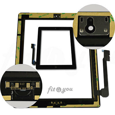 For Black iPad 3 4 Glass Digitizer Touch Screen Replacement wifi 3G Home Button