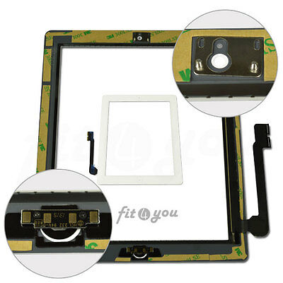 White Replacement For IPAD 3 4 Touch Screen Front Glass Digitizer Home Button
