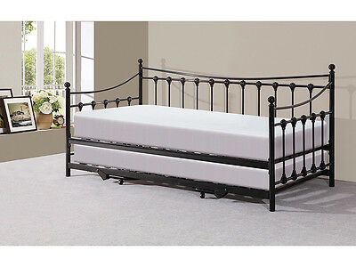Traditional Victorian Metal 3FT Day Bed with Trundle Black or Ivory Space Saver