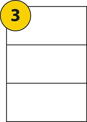 3 Sticky Labels per A4 Sheet x 100 Sheets, label size 210 x 99mm.UK Manufactured