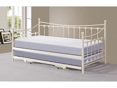 Traditional Victorian 3FT Day Bed with Trundle Black or Ivory + Mattress Options