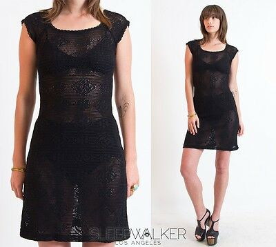 Vtg CROCHET Sheer Cut Out Lace Draped Boho Hippie Festival Mini DRESS Tunic Top