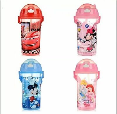 Kids PRINCESS MICKEY MINNIE MOUSE CARS Sippy Drink Water Bottle Straw 500ml GIFT