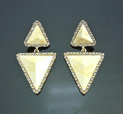 Vintage st Ivory Marble triangle earrings Gold GP crystal frame 2.25inch=6cmL