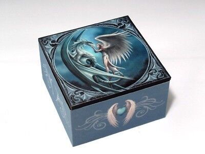 Anne Stokes Designer Silverback Dragon & Angel Small Jewelry Box With Mirror