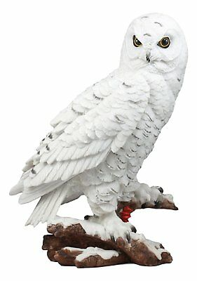 "White Snow Owl Perching on Tree Branch Figurine 12.75""H Statue Animal Kingdom"