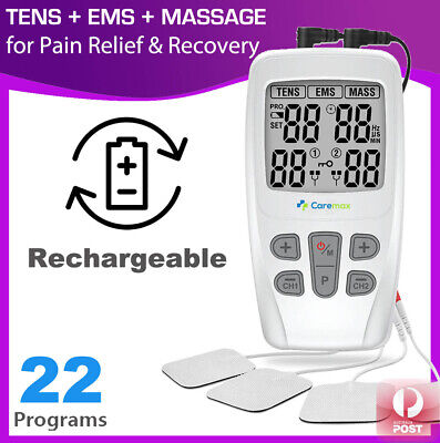 Dual Channel TENS Machine EMS 3 in 1 Combo Unit Pain Relief Massager Physio C4D