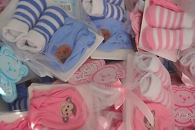 Wholesale Baby Lot of 36 Pairs Socks and Mittens for Party Baby Shower Gift Set