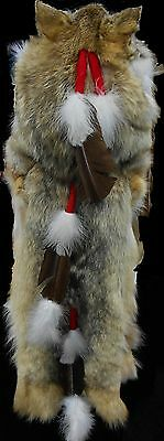 Native American Navajo Indian Headdress Full Coyote Medicine Mountain Man Shaman