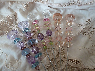 2 Sparkling Extra Large Jewelled Picks Wedding Venue Decoration Pink White Lilac