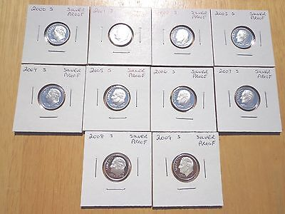2000 2001 2002 2003 2004 - 2008 2009 S Roosevelt Silver Proof Dime 10 Coin Set