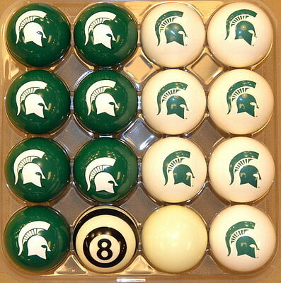 NCAA Michigan State Spartans Pool ball set - Home and Away!! FREE US SHIP