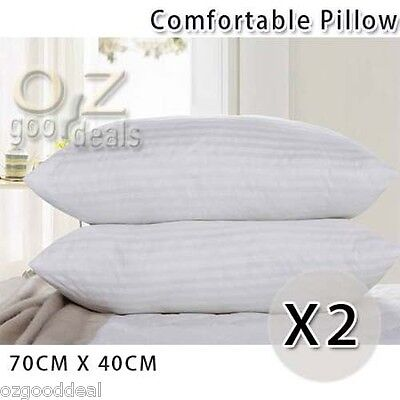 New 2x Comfy Fluffy High Density White Bed Pillow Cushion 10cm Standard 70x40cm