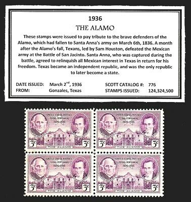 1936 - TEXAS ALAMO - Mint -MNH- Block of Four Vintage U.S. Postage Stamps