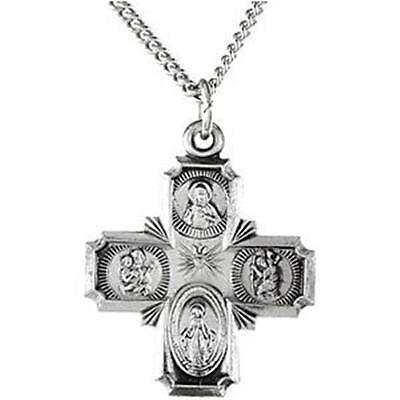 MRT .925 Sterling Silver Four Way Catholic Scapular Medal Pendant Cross w Chain