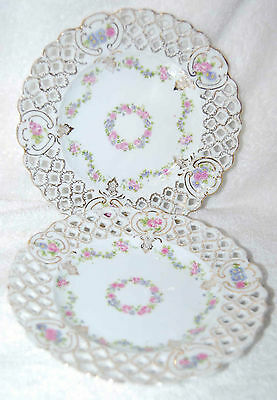AUSTRIA RETICULATED PLATES THAT ARE GOLD ENCRUSTED WITH ROSES