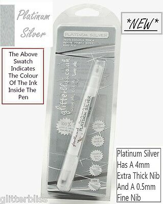 Silver Food Pen - Double Sided. 4mm Extra Thick Nib & 0.5mm Fine Nib