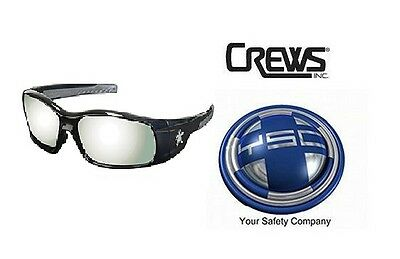 Crews SR117 MCR Swagger Safety Glasses BLACK FRAME Silver Mirror Lens 1 PAIR NEW