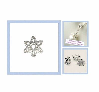 925 Solid STERLING SILVER 9.6mm Star Bead Caps 4pcs  #5405-4