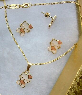 New! 18K GOLD Filled Pink HELLO KITTY HEART Girls Kids Necklace Earrings 3pc SET
