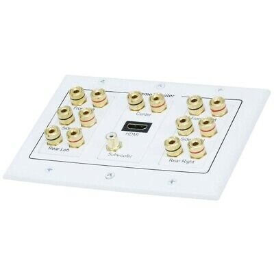 7.1//7.2 Home Theater Speaker Wall Plate 24K Gold Plated with 3 HDMI Connectors