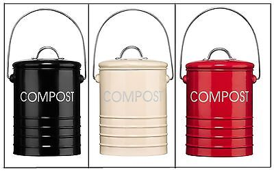 Compost Bin Bucket Caddy Galvanized Steel Home Garden Waste Soil With Handle New
