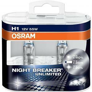 OFERTA 2 Bombillas Osram Night Breaker Unlimited H1 110%+ Luz 12v Lámparas Coche