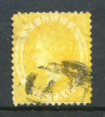 St. Lucia 1864/76 4d Yellow watermark Crown CC, used (2014/02/12#5)