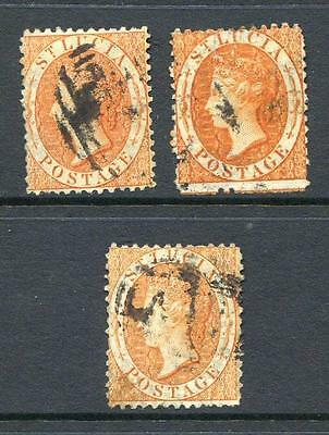 St. Lucia 1864/76 1/-  watermark Crown CC, 3 shades used (2014/02/12#6)
