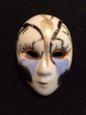 Pretty Lady Abstract Art Face Paint Pin Brooch Vintage Jewelry Porcelain Ceramic