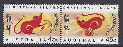 1996 Christmas Island Year Of The Rat Set Of 2 Fine Mint Mnh/muh