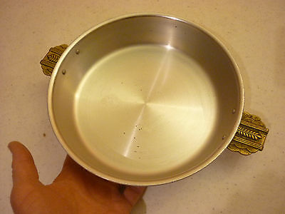 Vintage Kitchen - Paella Skillet Pan w/ Ornate Figural Brass Handles