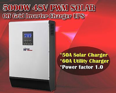 5kva Solar inverter 4000w 48v pure sine + 50A solar charger +60A utility charger