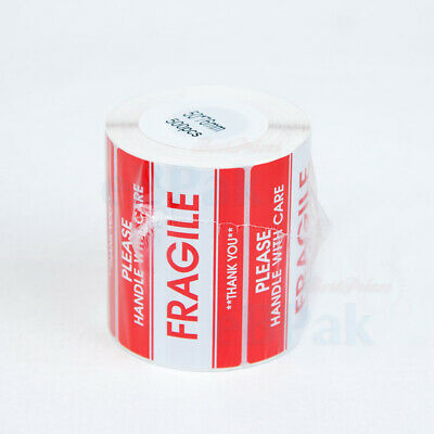500 RED Glossy Sticker - FRAGILE HANDLE WITH CARE - 105x57mm SELF ADHESIVE LABEL