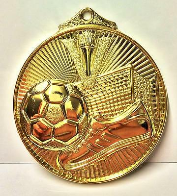 Gold Football Medal with Ribbon + FREE Engraving + FREE P&P