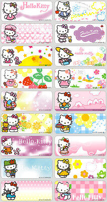 18 Hello Kitty Cat Personalised name Label Sticker School book vinyl 4.6x1.8cm