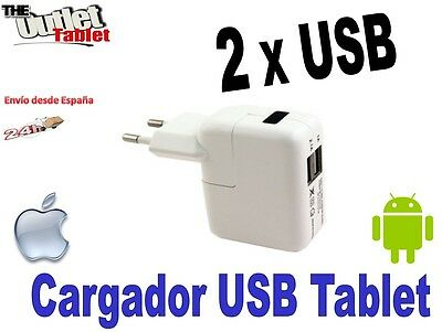 Cargador Pared Doble USB 2.1M + 1A máxima calidad para tablet ó ipad 3A