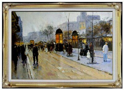 Framed,  Street with Passengers, Quality Hand Painted Oil Painting 24x36in