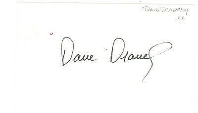Dave Dravecky autographed index card 5 x 7 autograph signed baseball