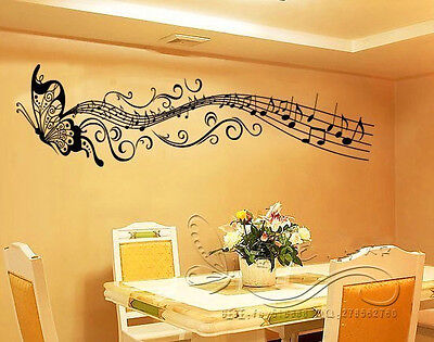 Music butterfly wall decal sticker Home art Decor VINYL removable
