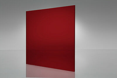 "Red Transparent Acrylic Plexiglass sheet 1/8"" x 12"" x 12"" #2423"