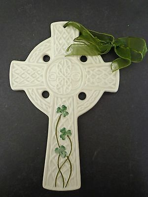 "IRISH SHAMROCK CERAMIC CROSS WITH RIBBON 9"" ST PATRICKS DAY NEW"