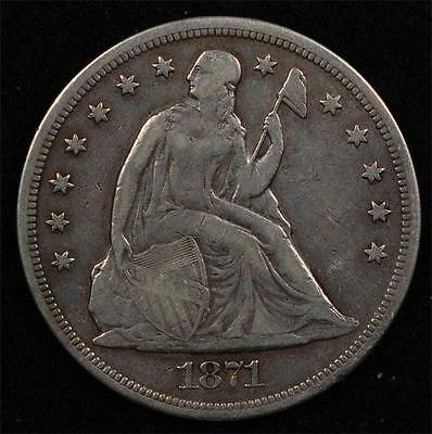 1871 Liberty Seated Dollar:  nice VF, problem-free for the grade, scarce!!