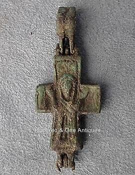 Authentic 9th-12th century AD Antique Byzantine Bronze Pectoral Reliquary Cross