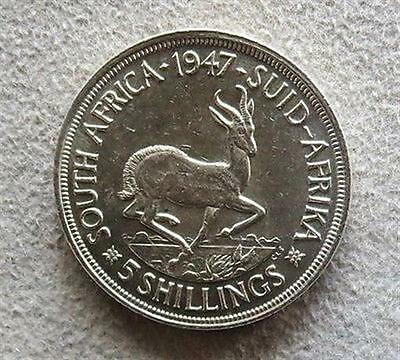 1947 Silver South Africa 5 Shillings Royal Visit Coin About Uncirculated