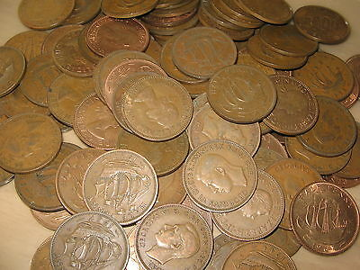 Job Lot Of 100 British Bronze Ship Half Pennies Shove Half Pennies Free Uk Post