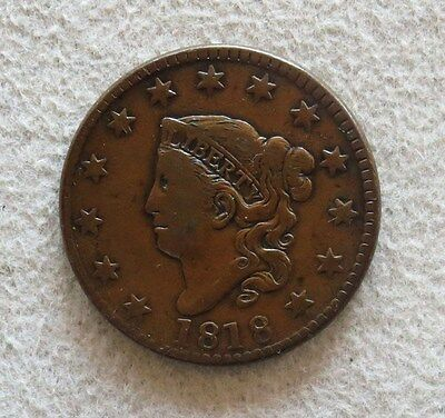 1818 Copper Large Cent Matron Head Coin Choice Very Fine