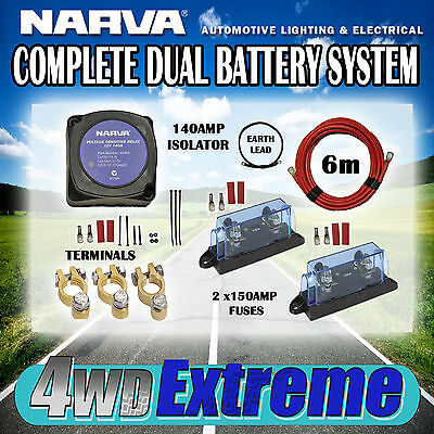 DUAL BATTERY KIT 140AMP NARVA COMPLETE ISOLATOR WIRING FUSES CABLE 61092 +2x150