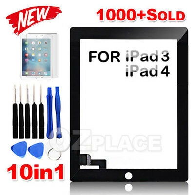 Premium Digitizer Replacement Front Glass Touch Screen Lens for iPad 3 4 Black