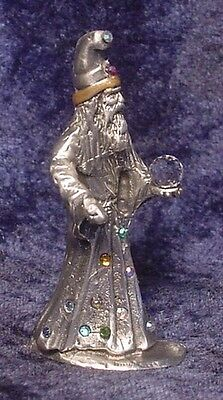 Pewter WIZARD with Many Colorful Crystal Accents